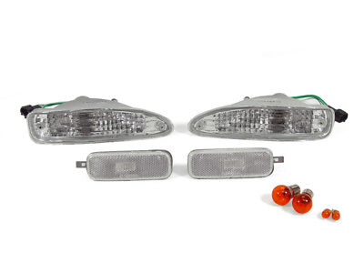 (JDM Euro Clear Front Bumper Signal+Side Marker Lights For 1991-1994 Nissan 240sx)