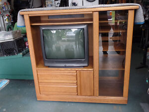 PALLISER SOLID WOOD STEREO TV UNIT WITH TV