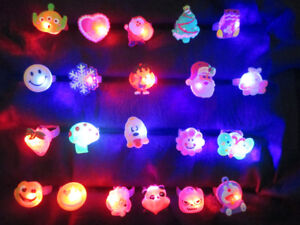 15pcs LED Flashing Jelly Cartoon Finger Ring  Kids Gift Treat