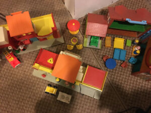 Vintage Fisher Price Folding House and Town Buildings