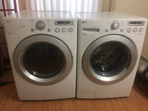"LG WHITE 27"" FRONT LOAD STACK WASHER ELECTRIC DRYER LAUNDRY"