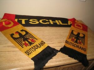 Mint condition Deutschland soccer scarf with emblems