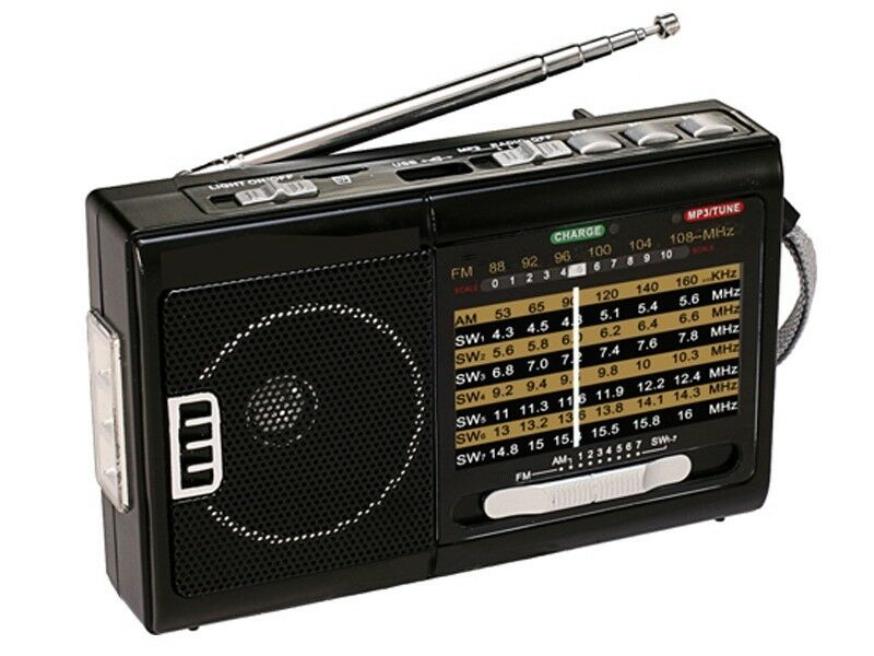 QFX R-39 R-39e Rechargeable AM/FM/SW1-SW9 10-Band Portable Radio+Flash Light+USB