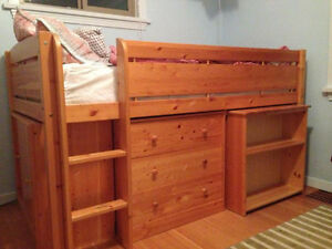 Bed in pine wood with matching, bookshelf, sliding door cabinet