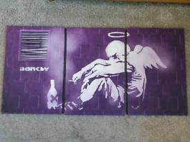 Banksy Angel 3 Part Canvas