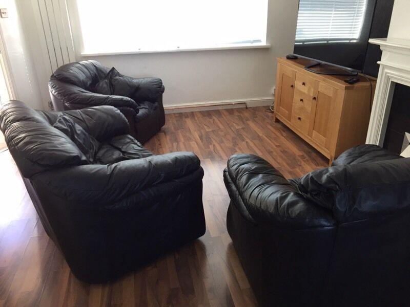 Super 3 Piece Leather Sofa Set