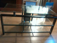 Glass TV Stand 75$ OBO ~ Must Go ASAP