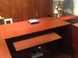 Custom L-shaped desk with chair