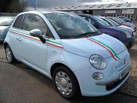 2009 Fiat 500 1.2 POP in Cha Cha Blue with Italian Stripe's Leather Upholstery