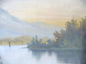 "Antique, Large Original Oil, ""Lake George"" by C. G. White Stratford Kitchener Area image 4"