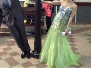 Prom dress. Blue green ombre .