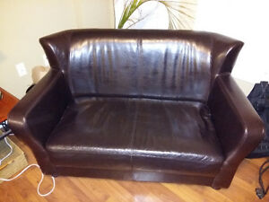 Brown Faux Leather Love Seat