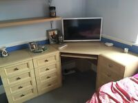 Corner desk and drawers - can't be broken down into sections.