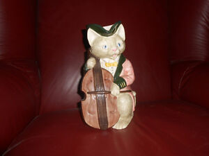 Fitz and Floyd Cat playing cello pitcher Vintage