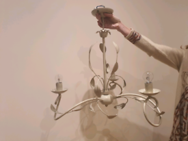 Perfect condition ornate metal chandelier