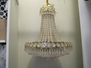 Elegant Many-Crystaled Chandelier