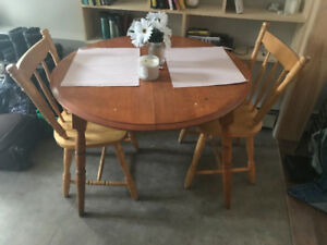 Wooden kitchen table chairs included