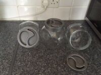 3 glass jars I used for coffee ,tea and sugar.