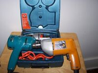 THREE BLACK & DECKER CORDED DRILLS AND TWO HAND DRILLS