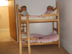 Wooden Doll Bunk Beds with Bedding & Twin Dolls