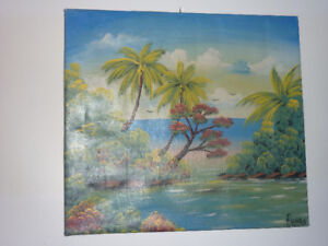 Palm Tree and Island Canvas Painting