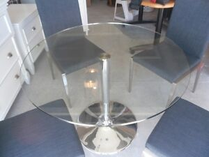 Chrome and glass table and chairs