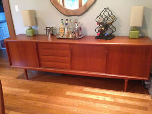 Mid century solid teak dining set and buffet