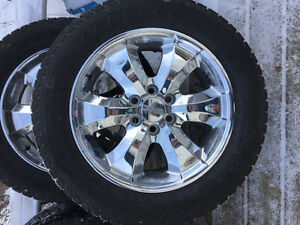 """Factory 20"""" GM chrome rims and tires"""