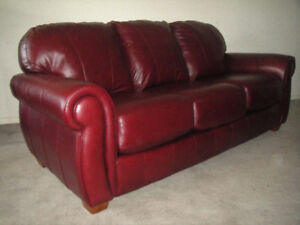 3 PCS HIGH END WINE LEATHER COUCH SET, DELIVRY AVAILABLE