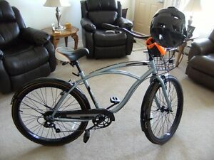 New mens 7 Speed HUFFY Bike for sale with helmet.