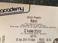 4 x Moderat tickets @ Brixton Academy Thur's 29th