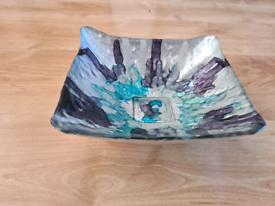 """Pretty Ornamental Glass Dish. (TK Maxx). Blues and Silver 8 x 8"""""""