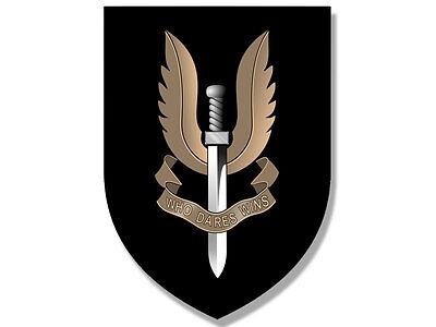 - 3x4 inch BLACK Shield Shaped SAS Who Dares Wins Seal Sticker  - british logo air