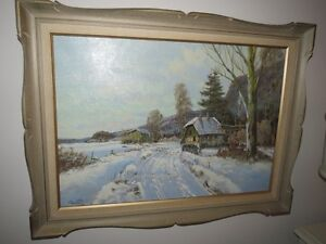 Framed Winter Scene Oil Painting