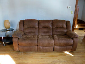 Set of Walnut Reclining Sofas and Matching Reclining Chair