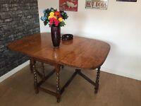 Vintage Solid Oak Barley Twist Leg Drop Leaf Table - Can Deliver