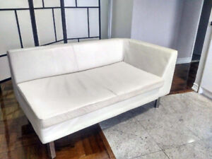 Chaise Lounge Couch White Leather