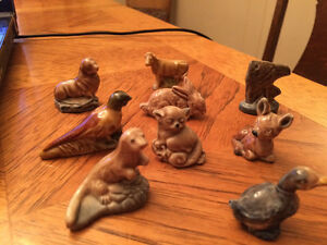 Red Rose Figurines 9 in total including Pheasant Rabbiy and Duck