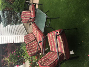 Patio Furniture Set - 1 Love Seat, 2 Chairs & Glass Top Table
