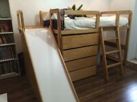 Custom-made, solid maple bed with slide and dresser!