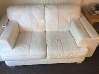 White Leather 2 Seater Sofa. REDUCED!!