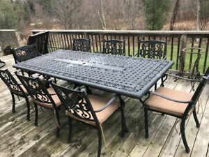 Cast iron Patio Table and 8 Chairs