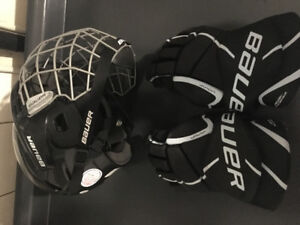BAUER hockey equipment. Helmet and gloves. Used for 7 games only