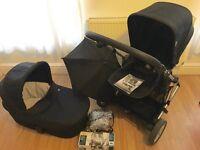 Mamas & Papas Zoom Pushchair & Carrycot Includes Parasol, Rain Cover, Car Seat Adaptors & Manual
