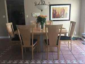 Modern dining room table and hutch