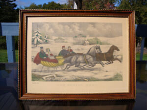 Antique Print Currier and Ives The Sleigh Race date 1940's