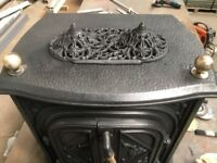 Cast iron stove new stainless steel back boiler