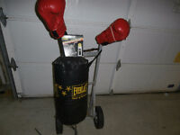 Everlast 50 lb punching bag with bag attachment and gloves