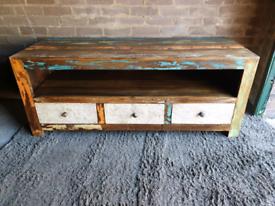 Solid Mango Wood Distressed Painted Art Deco TV Unit
