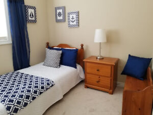 Toddler Bedroom Set: Solid Wood Twin Bed, Side Table and Toy Box